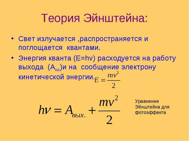 Теория Эйнштейна: Свет излучается ,распространяется и поглощается квантами. Э...