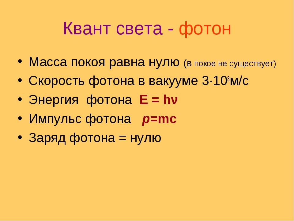 Квант света - фотон Масса покоя равна нулю (в покое не существует) Скорость ф...