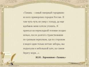 «Тамань – самый скверный городишко из всех приморских городов России. Я там ч