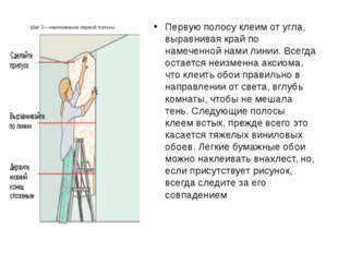 Шаг 3 – наклеивание первой полосы Первую полосу клеим от угла, выравнивая кра