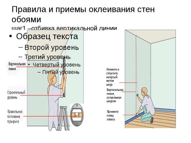 Правила и приемы оклеивания стен обоями шаг1 –отбивка вертикальной линии