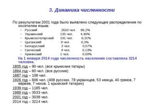 3. Динамика численности По результатам 2001 года было выявлено следующее расп