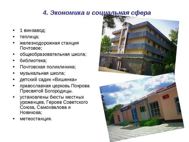 4. Экономика и социальная сфера 1 винзавод; теплица; железнодорожная станция...