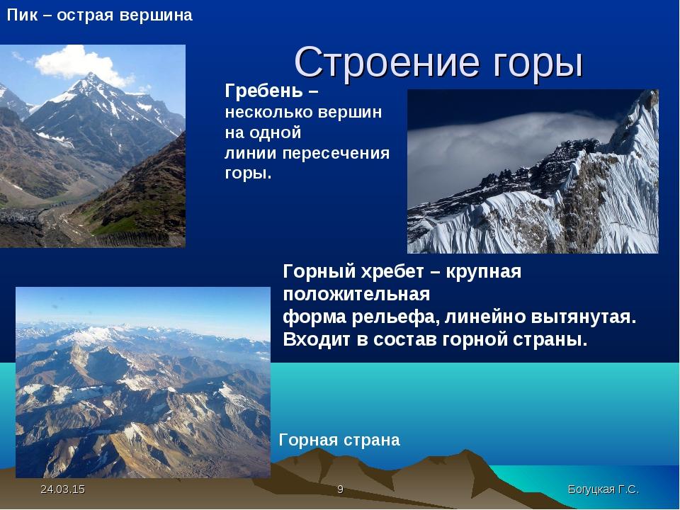 Строение горы Пик – острая вершина Горный хребет – крупная положительная фор...