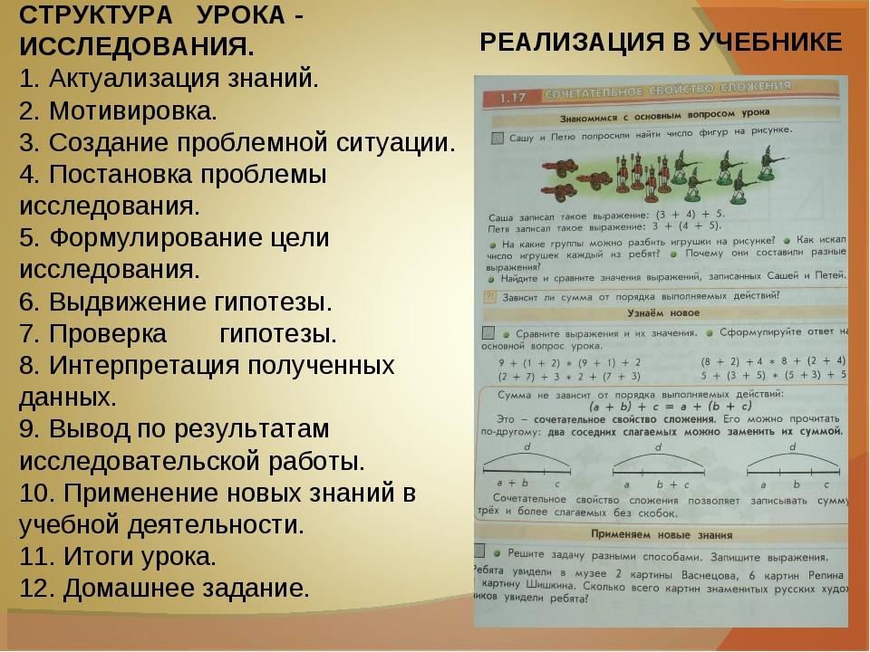 СТРУКТУРА УРОКА - ИССЛЕДОВАНИЯ. 1.Актуализация знаний. 2.Мотивировка. 3.Со...