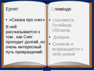 Ертегі әлемінде «Сказка про снег» В ней рассказывается о том , как Снег прохо