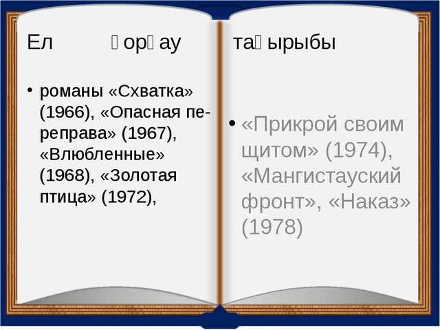 Ел қорғау тақырыбы романы «Схватка» (1966), «Опасная переправа» (1967), «Влю...