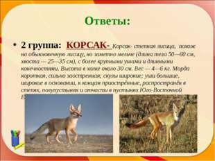 Ответы: 2 группа: КОРСАК- Корсак- степная лисица, похож на обыкновенную лисиц