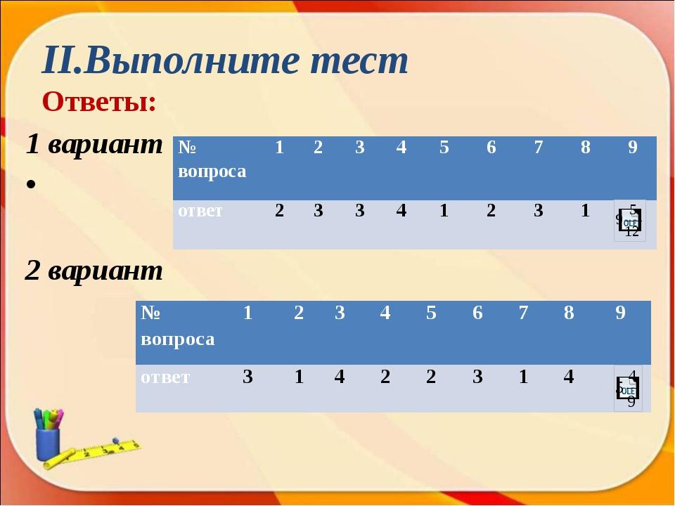 II.Выполните тест Ответы: 1 вариант 2 вариант № вопроса 1 2 3 4 5 6 7 8 9 отв...