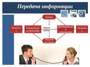 Передача информации Источник Кодирующее устройство Помехи Защита от помех Дек