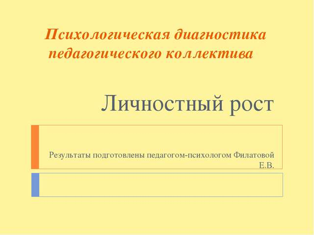 Психологическая диагностика педагогического коллектива Личностный рост Резуль...