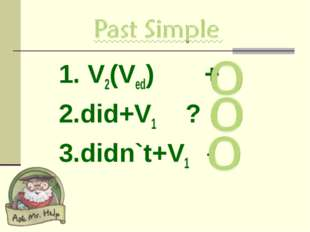 1. V2(Ved) + 2.did+V1 ? 3.didn`t+V1 -