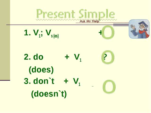 1. V1; Vs (es) + 2. do + V1 ? (does) 3. don`t + V1 _ (doesn`t)