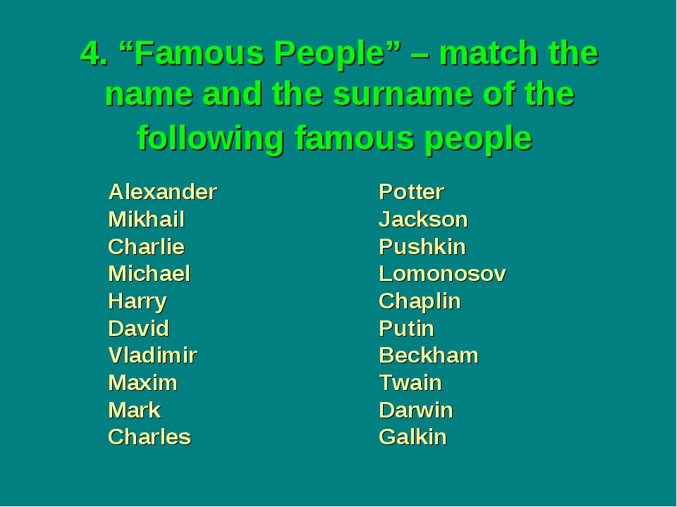 "4. ""Famous People"" – match the name and the surname of the following famous p..."