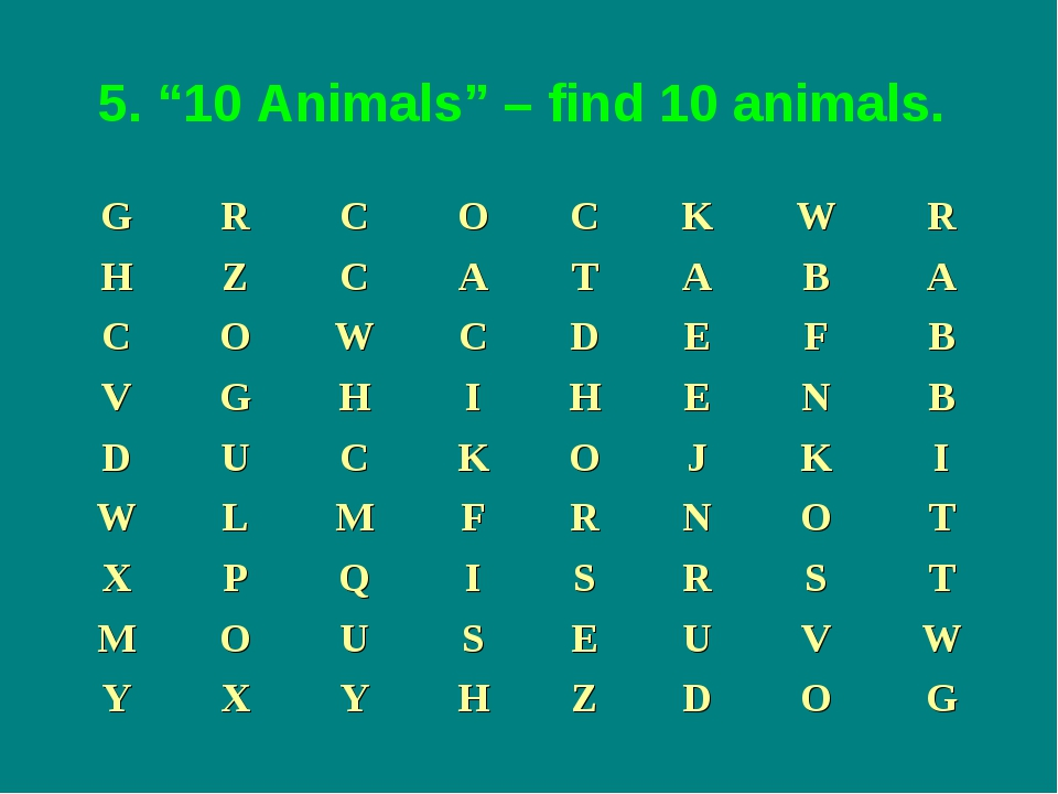 "5. ""10 Animals"" – find 10 animals."
