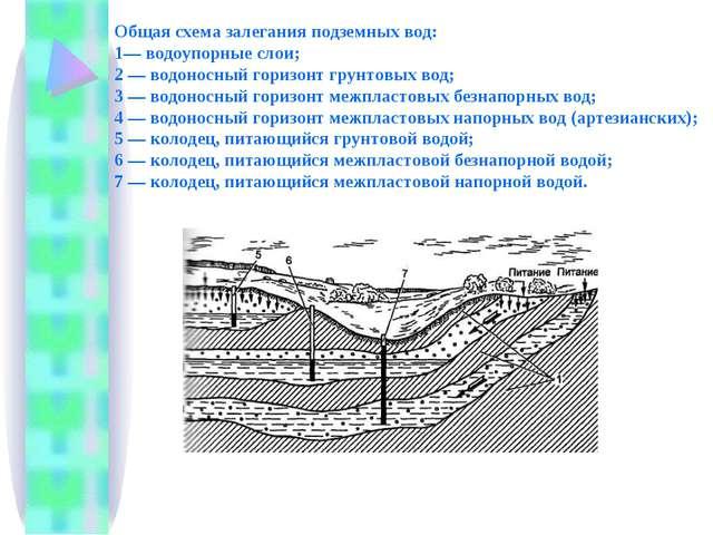 Общая схема залегания подземных вод: 1— водоупорные слои; 2 — водоносный гори...