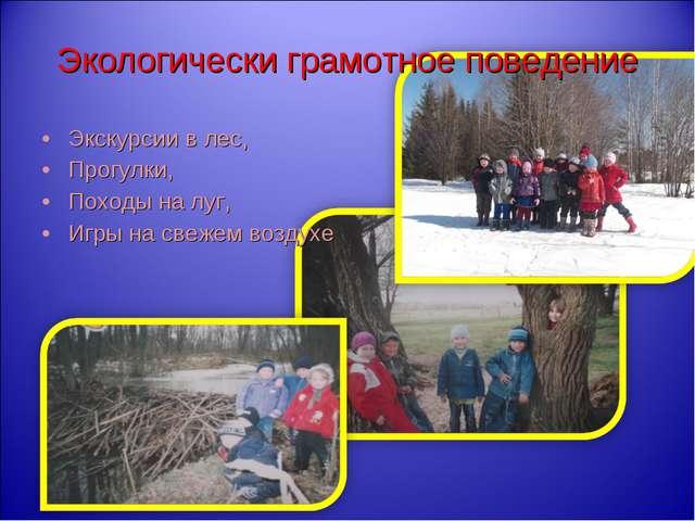 Экскурсии в лес, Прогулки, Походы на луг, Игры на свежем воздухе Экологически...