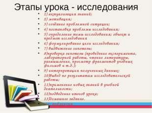 Этапы урока - исследования 1) актуализация знаний; 2) мотивация; 3) создание