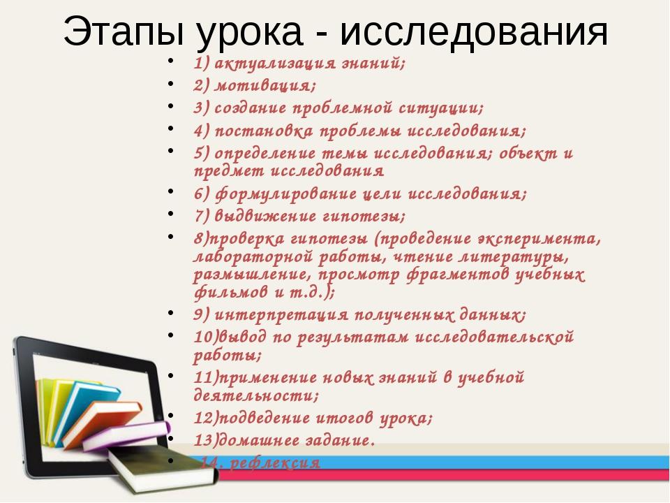 Этапы урока - исследования 1) актуализация знаний; 2) мотивация; 3) создание...