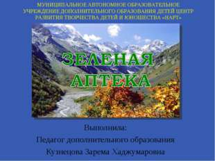 Выполнила: Педагог дополнительного образования Кузнецова Зарема Хаджумаровна
