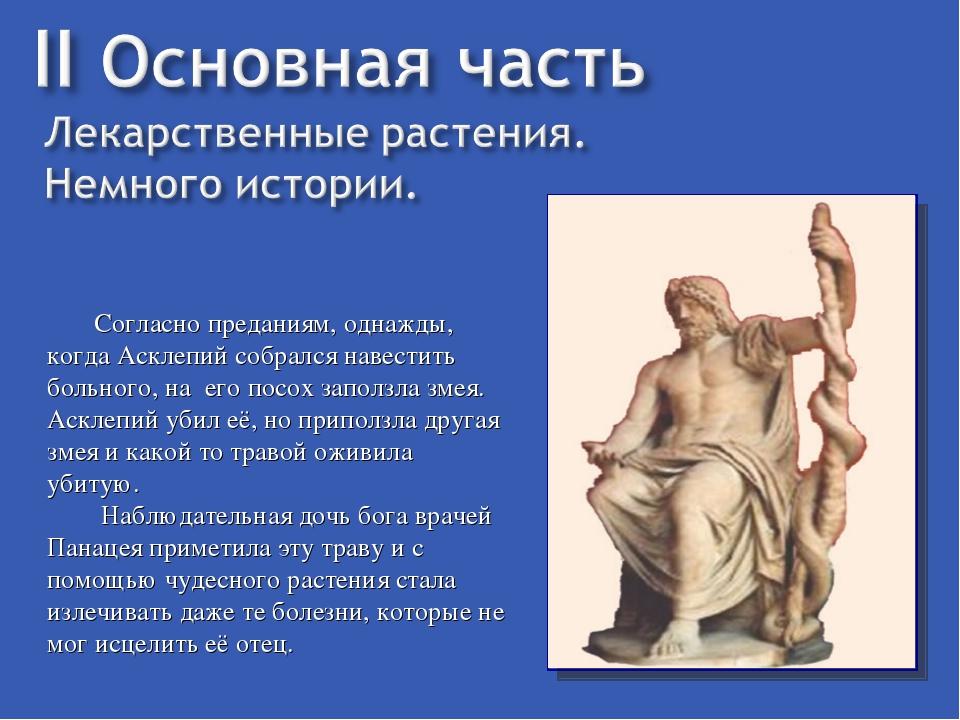 Согласно преданиям, однажды, когда Асклепий собрался навестить больного, на...