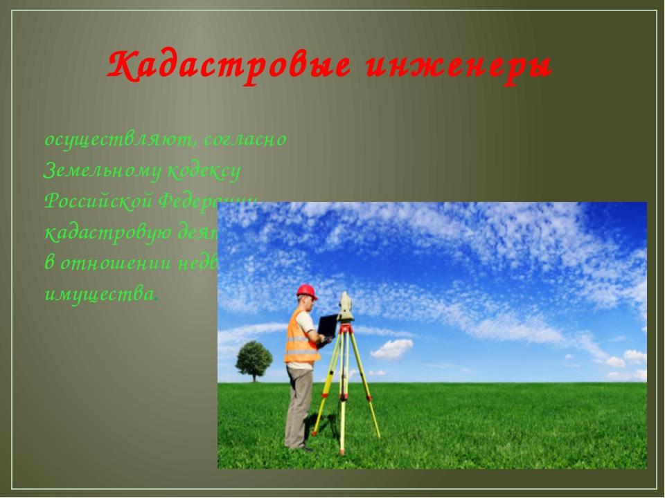 Кадастровые инженеры осуществляют, согласно Земельному кодексу Российской Фед...