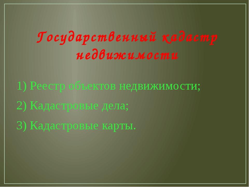 Государственный кадастр недвижимости 1) Реестр объектов недвижимости; 2) Када...