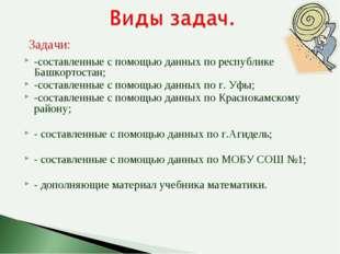 -составленные с помощью данных по республике Башкортостан; -составленные с по