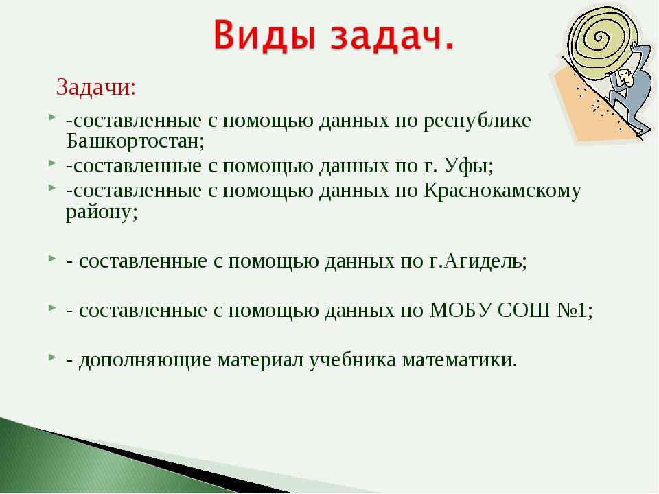 -составленные с помощью данных по республике Башкортостан; -составленные с по...