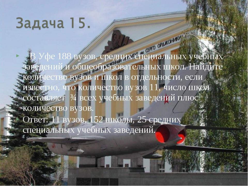 В Уфе 188 вузов, средних специальных учебных заведений и общеобразовательных...