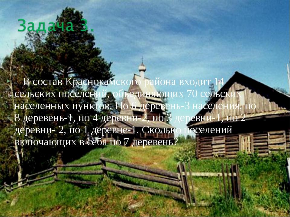 В состав Краснокамского района входит 14 сельских поселений, объединяющих 70...