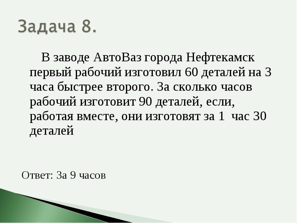 В заводе АвтоВаз города Нефтекамск первый рабочий изготовил 60 деталей на 3...