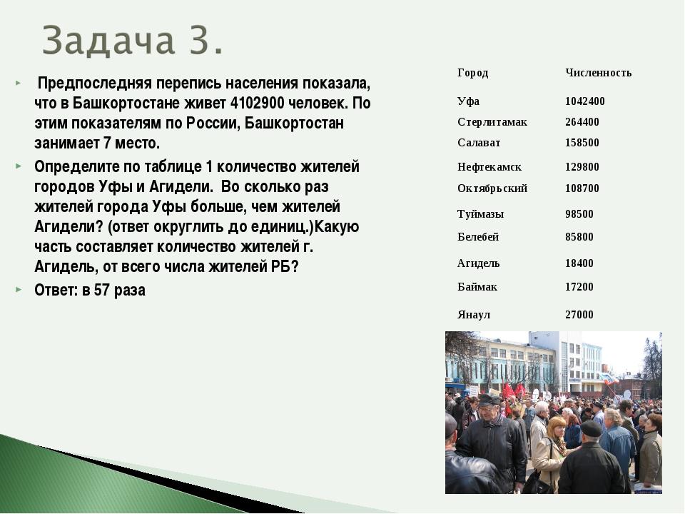 Предпоследняя перепись населения показала, что в Башкортостане живет 4102900...