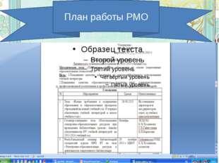 План работы РМО библиотекарей План работы РМО