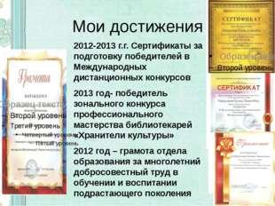 Мои достижения 2012-2013 г.г. Сертификаты за подготовку победителей в Междуна