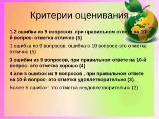 Критерии оценивания 1-2 ошибки из 9 вопросов ,при правильном ответе на 10-й в