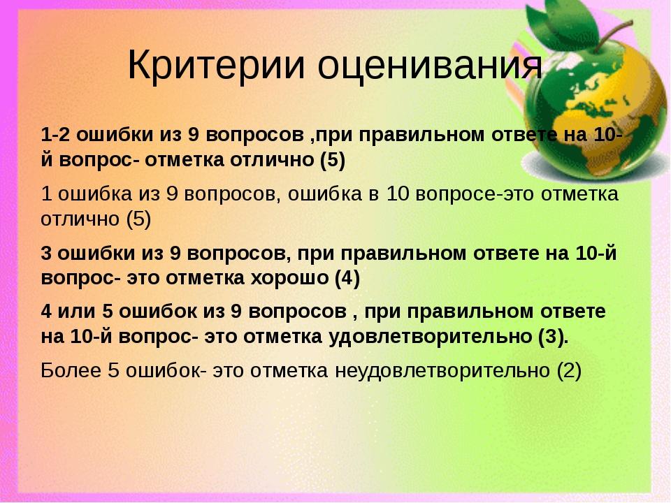 Критерии оценивания 1-2 ошибки из 9 вопросов ,при правильном ответе на 10-й в...