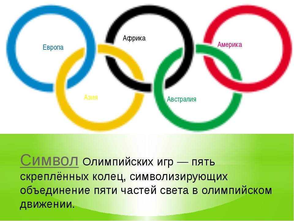 Европа Азия Африка Австралия Америка Символ Олимпийских игр— пять скреплённы...