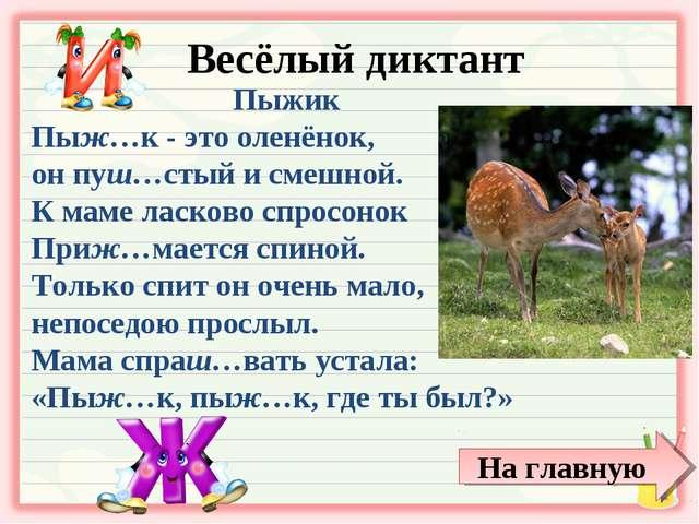Весёлый диктант Пыжик Пыж…к - это оленёнок, он пуш…стый и смешной. К маме лас...
