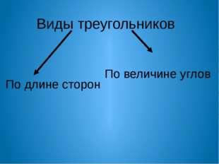 Виды треугольников по длине сторон Равносторонний треугольник Равнобедренный