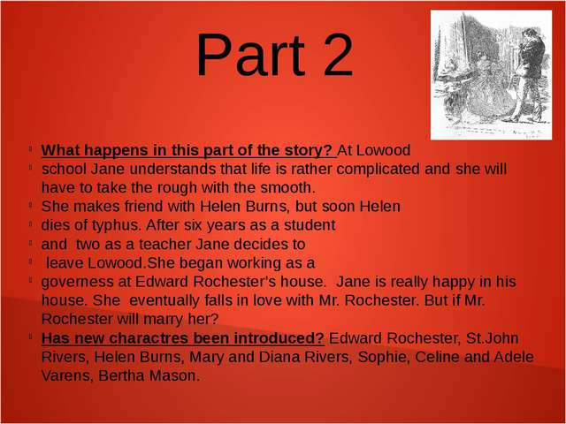 Part 2 What happens in this part of the story? At Lowood school Jane understa...