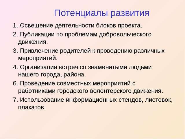 Потенциалы развития 1. Освещение деятельности блоков проекта. 2. Публикации...