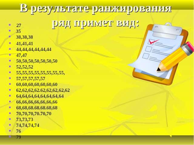 В результате ранжирования ряд примет вид: 41,41,41 44,44,44,44,44,44 47,47 50...