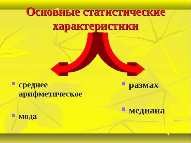 Основные статистические характеристики среднее арифметическое мода размах мед...