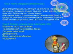 Тема 1. Работа с природным материалом (11ч) Демонстрация образцов, иллюстраци