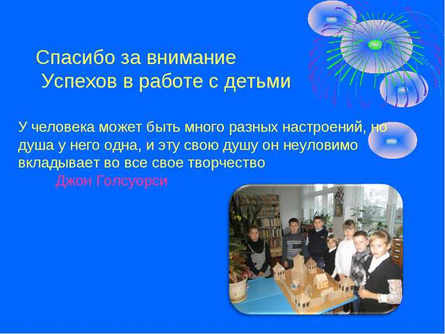 Спасибо за внимание Успехов в работе с детьми У человека может быть много раз...