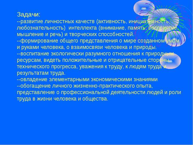 Задачи: --развитие личностных качеств (активность, инициативность, любознател...