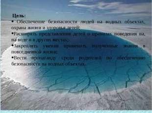 Цель:  Обеспечение безопасности людей на водных объектах, охрана жизни и зд