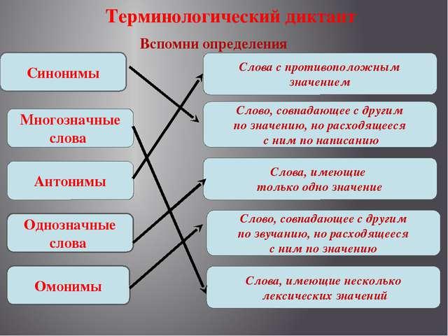 Терминологический диктант Вспомни определения Многозначные слова Антонимы Одн...