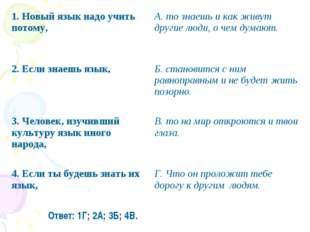 Ответ: 1Г; 2А; 3Б; 4В. 1. Новый язык надо учить потому,А. то знаешь и как жи
